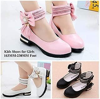 Girls Casual Dress Low Heel Breathable Single Shoes Kids Princess Bowknot Rhinestone Rear Zipper Non Skid Shoes(Black,29)