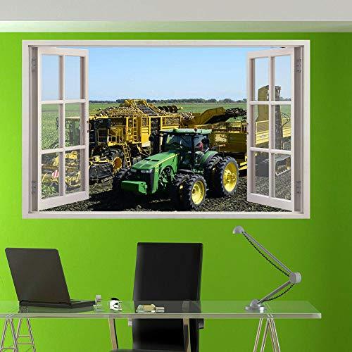 Calcomanías de Pared Remolque de Cosechadora Calcomanías de Pared Sala de Arte 3D decoración de Tienda de Oficina 56x65cm
