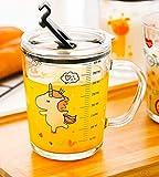 Soleiler Niño Taza Medidora Taza de Leche Vaso Taza de Escala para niños con Paja, 350 ml Taza de Agua de Vidrio para niños Impresión de Dibujos Animados a Prueba de Fugas (Unicornio)