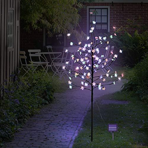 NEWNEN 5ft Solar Illuminated Cherry Blossom Tree with 104 Led Lights Christmas Twig Tree Decoration Outdoor, Garden, Path (Multicolor)
