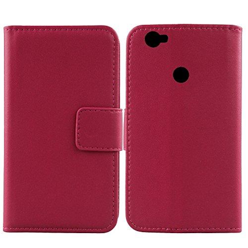 Gukas Design Genuino Cuero Case para Elephone M3 5.5' Flip Billetera Funda Autentico Ranuras Tarjetas Piel Premium Cover (Rosa)