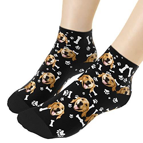 VEELU Personalisiert Gesicht Socken mit Foto Druck Unisex Lustige Socken mit Hund Pfoten Paws Fußlänge 18cm 7.08 in. Besonderes Geschenk für Frauen Männer Freunde Familie Schwarz