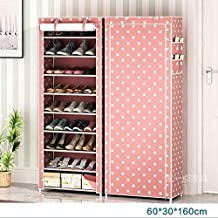 Zizer Color Full Iron and Non-Woven Fabric 9 Tiers Multipurpose Portable Folding Shoe Storage Organizer Rack with Zippered Dustproof Cover (Pinkdot)