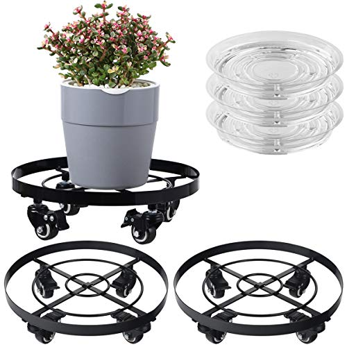 """3 Packs Large Metal Plant Caddy 12.6"""" Plant Dolly with Wheels Heavy Duty Iron Rolling Plant Stand with Casters for Indoor and Outdoor Plant Pot Rollers Black, 3-Pack Plant Saucers Included"""