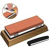 KIPTOP 砥石1000/8000サンディングブロック両面ナイフ削りマニュアル2 in 1砥石、キッチン用、木工用、滑り止めベースブレードアングルガイド付き、