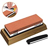 KIPTOP Whetstone Knife Sharpening Stone 2 Side Grit 1000/8000 Waterstone | Best Premium Whetstone Sharpener | Nonslip Bamboo Base & Angle Guide for Kitchen, Woodwork, Outdoors