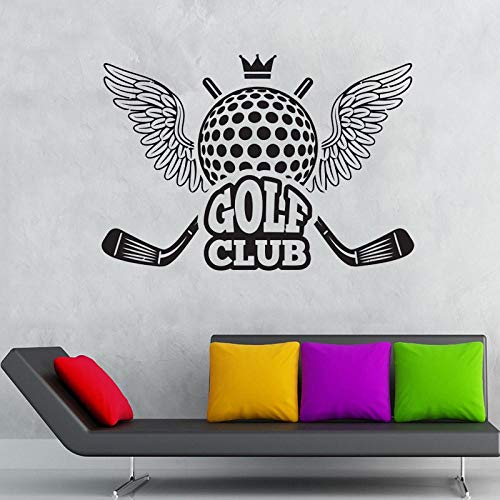 MRQXDP Muursticker Golf Club met Vleugelmuurstickers Vinyl Decor voor Golfbaan Outdoor Sports Golf Club Vinylbehang 57x81cm Papel De Parede