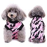 SELMAI Body Post-Operatori per Cani Recupero Vestito E Collare Vestiti Gatto Indossare per Malattie della Pelle Ferite Cura Chirurgica Animale Domestico Prevenire Leccare Camuffamento Rosa S