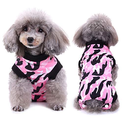 SELMAI Body für Hunde Nach op Mode Tarnung Medical Pet Shirt Katze Hund Kastration E-Kragen Alternative Tragen für Hautkrankheiten Wunden Chirurgische Versorgung Haustier Verhindern Lecken Rosa L
