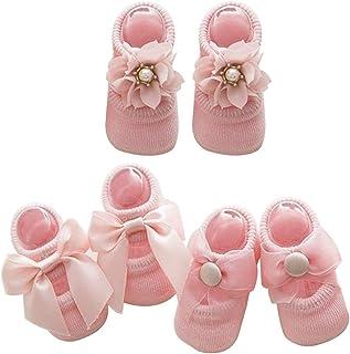 Sukisuki - Calcetines cálidos para recién Nacido, 3 Pares, Color sólido, con Lazo, Antideslizantes, de algodón, Calcetines Deportivos Rosa Rosa M