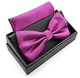 Massi Morino ® Herrenfliegen Set mit Tuch in Lila Männer Anzug Schleife Krawattenfliege bowtie...