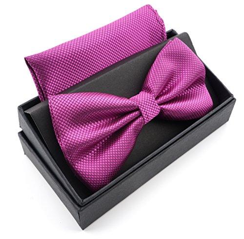 Massi Morino Massi Morino ® Herrenfliegen Set mit Tuch in Lila Männer Anzug Schleife Krawattenfliege bowtie lilafliege pastell lilafarben violett lilarosa lavendel zwetschgenfarben