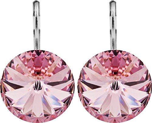 petra kupfer Damen Ohrringe Ohrhänger Rivoli 1 Swarovski®-Kristall 14 mm Rosa Light Rose Versilbert hk14tb-light-rose