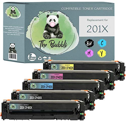 The Bubbli Original   201X 201A Tóner Compatible para HP Color Laserjet Pro M252dw M252n MFP M274n M277dw M277n (5-Pack)
