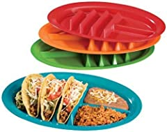 Jarratt Industries Fiesta Taco Plates hold up to three hard or soft tacos for easy filling fun. Turn your taco night into less of a mess and have a taco holder plate that takes away your stress. Each plate comes with 2 compartments to hold your desir...
