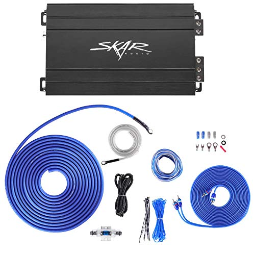 Skar Audio SK-M5001D 500 Watt Monoblock Car Amplifier with 8 Gauge OFC Skar Audio Amp Wiring Kit Bundle