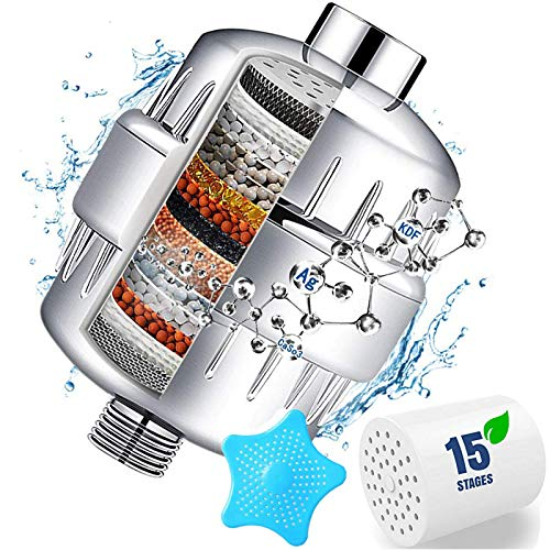 15 Stage Shower Filter with Vitamin C for Hard Water - Water Softener Shower Head Filter with Replaceable Multi-Stage Filter Cartridge to Remove Chlorine, Heavy Metal