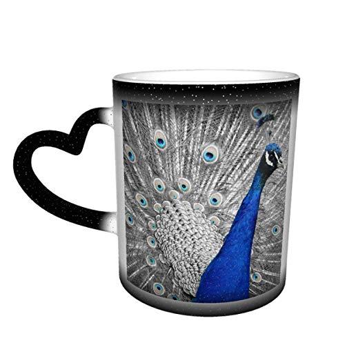 N\A Pfau Tier Vogel Feder Eitelkeit schillernden Farbwechselbecher im Himmel Keramikbecher Kaffeetasse Weihnachtsgeburtstagsgeschenk