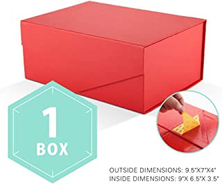 PACKHOME Gift Box Rectangular 9.5x7x4 Inches, Rectangle Collapsible Box with Magnetic Lid for Gift Packaging (Matte Red with Embossing, 1 Box)