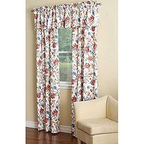 Ellis Curtain Cornwall Jacobean Floral Thermal Insulated Tailored Valance, 80 by 15-Inch, Multicolor