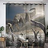 Elliot Dorothy Jurassic Park Dinosaurs Movie Poster Solid Grommet Blackout Curtains Treatment Curtains Thermal Insulating Blackout Curtain for Boys Girls Room W42 x L54