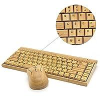 (Tstar)竹製キーボード&マウスセット無線 LAN 仕様 優しい 天然 素材 竹 テンキーレスタイプ 【豪華2点セット】 …