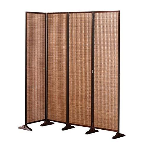 QIANDA Paravent Raumteiler, Raumtrenner Sichtschutz 150cm Hoch Extra Breit Faltbar Panel Partition Mauer Teiler Privatsphäre Schutz Zum Innen, Gewebte Bambus (Color : Brown, Size : 4 Panel)