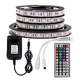 XUNATA 12V Tiras LED RGB 5050 SMD 300 LEDs Para TV Tira de Luces LED Kit Completo con control remoto de 44 teclas (No impermeable,...