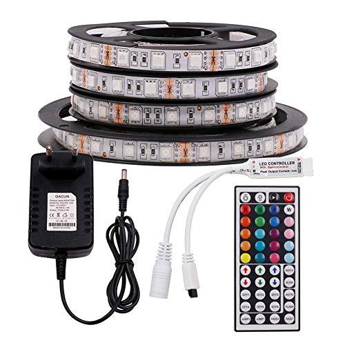 XUNATA 12V Tiras LED RGB 5050 SMD 300 LEDs Para TV Tira de Luces LED Kit Completo con control remoto de 44 teclas (No impermeable, 4m 240LEDs)