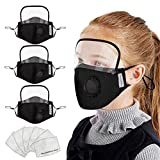 Bnina3 Pcs Kids' Child Washable Reusable Face Masc With 6 Filter And Detachable Eye Shield
