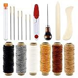Bamru - Set de 17 piezas de costura de piel, 6 colores, hilo de cuero con ojos grandes, agujas para coser, falsa, punzón y tijeras para artesanía de cuero