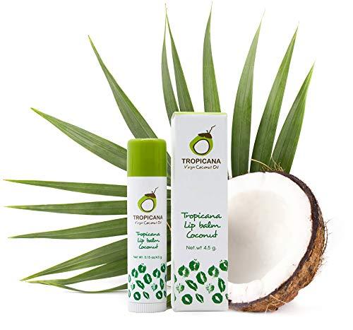 Tropicana Oil Naturkosmetik Beauty 2 x Coconut Lippenstift 4,5g | Kaltgepresstes Natives Kokos Öl, Kakaobutter und Shea Butter Lippenpflege für trockene Lippen | Lip Balsam Lippen Balm