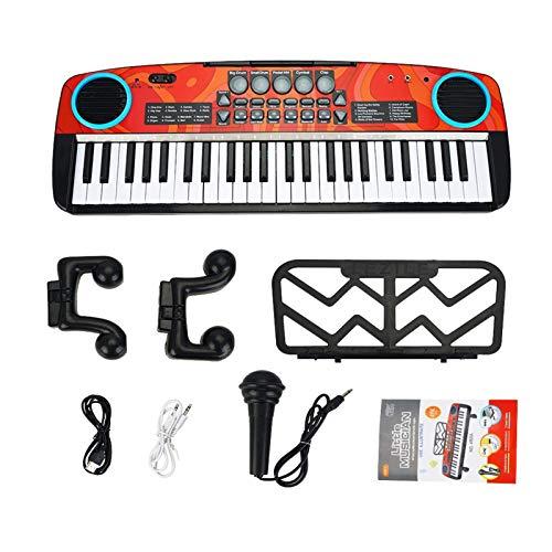 Piano-Tastatur for Kinder, 49 Schlüssel Multifunktionskinder Electronic Piano Musical Keyboards mit Mikrofon, pädagogische Musikinstrumente Spielzeuggeschenke for 3-8 Jahre alte Jungen Mädchen Anfänge