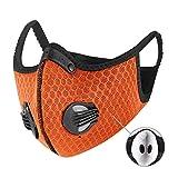 XAKALAKA Face Scarf Balaclava Neck Gaiter Mask with Safety Carbon Filters Headwear Outdoors Sports Motorcycling Orange 1Pcs