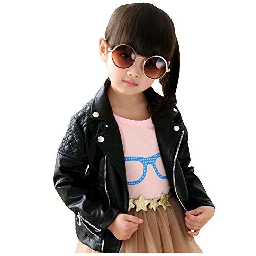 LSERVER Kinder Lederjacke Cool und Vintage Jacke Faux Leather Mantel Motorradjacke, Schwarz, 86(Fabrikgröße: 90)