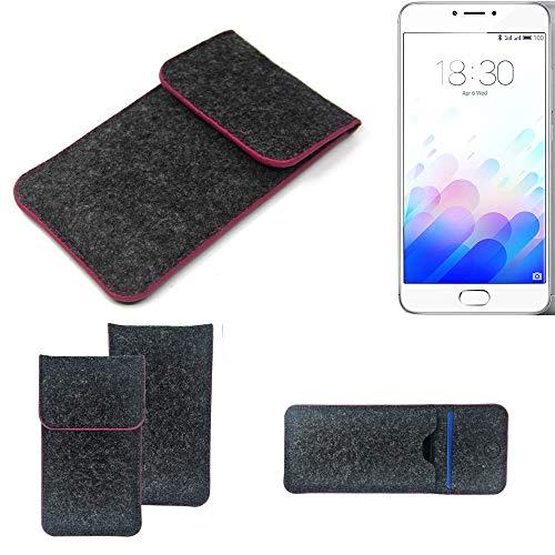 K-S-Trade Handy Schutz Hülle Kompatibel Mit Meizu M3 Note Schutzhülle Handyhülle Filztasche Pouch Tasche Hülle Sleeve Filzhülle Dunkelgrau Rosa Rand