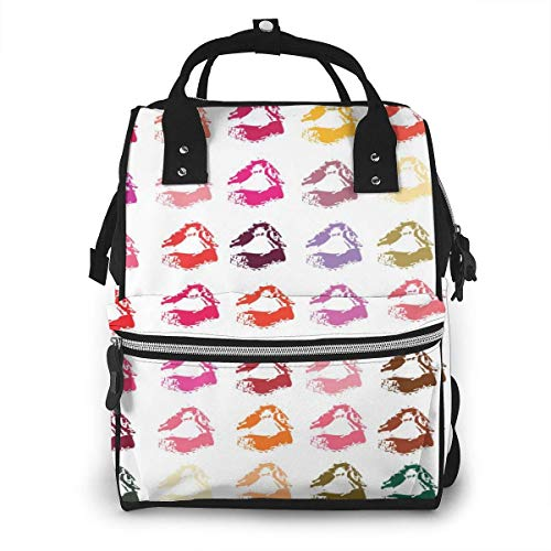 UUwant Sac à Dos à Couches pour Maman Collection of Lipsticks Print Mouth In2 Colors Set Illustrations Diaper Bags Large Capacity Diaper Backpack Travel Nappy Bags Mummy Backpackling