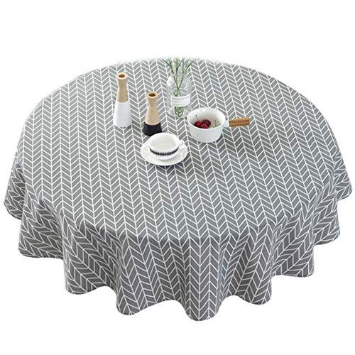 Mantel geométrico de la serie,algodón y lino con rayas redondas de algodón de la línea de la cubierta de la mesa de sarga nórdica,...