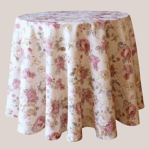 Kamaca Serie Romantic Roses in Creme Rose mit zarten Pastelltönen Markenqualität hoher Baumwolle Anteil (Tischdecke rund 170 cm)