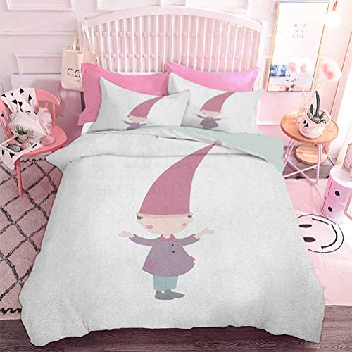 Hiiiman 3pcs Premium Comforter Set Little Cartoon Gnome Character Illustration with a Big Pink Hat Standing Under Rain (3pcs, Oversized King Size) with 2 Pillow case