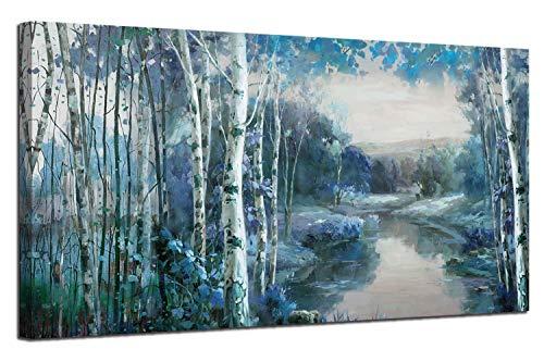 Arjun Leinwandbild, Landschaftsbild, große Größe, Panorama, für Wohnzimmer, Schlafzimmer, Zuhause, Büro Medium Size Blue Forest