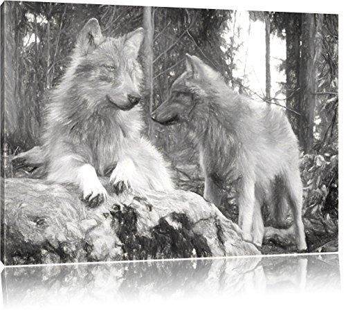 Pixxprint Wölfe im Wald Kunst / 80x60cm Leinwandbild bespannt auf Holzrahmen/Wandbild Kunstdruck Dekoration