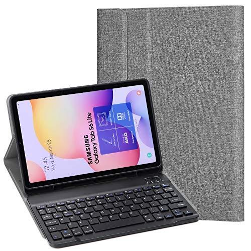 KILISON Samsung Galaxy Tab S6 Lite Cover Tastiera Custodia, [QWERTY Layout] Wireless Keyboard Case per Samsung Galaxy Tab S6 Lite 10.4, Grigio