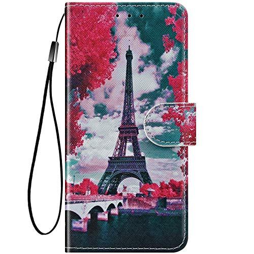 Felfy Kompatibel mit LG G7 ThinQ Hülle Bunte Painted Muster Schutzhülle,Handyhülle für LG G7 ThinQ Magnet Flip Hülle PU Lederhülle Tasche mit Kartenfach/Standfunktion - Blume - Turm