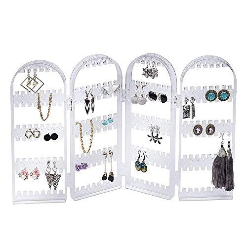 HPiano 4-Panel-Schmuckständer Schmuckhalter Ohrringhalter Kettenständer Armbandständern, Faltbarer,Schmuck Aufbewahrung von Ketten Ohrringen Ringen Armbändern,Weiß