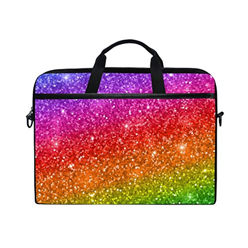 WowPrint Laptop Sleeve, Rainbow Sequins Pattern Laptop Case Shoulder Strap with Handle Portable Notebook Computer Bag for 13 13.3 14 15 inch