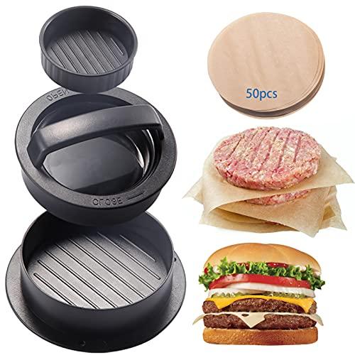 3-in-1-Burgerpresse Patty Burger Maker Antihaft-Hamburgerformsatz für gefüllte Burger, normaler Rindfleischburger, Grill mit 50 Wachspapieren