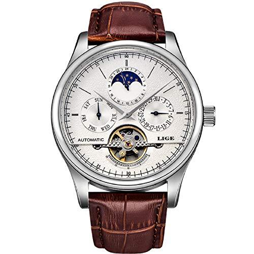 Reloj LIGE hombres mecánico Tourbillon marca de lujo moda cuero hombre relojes hombres...