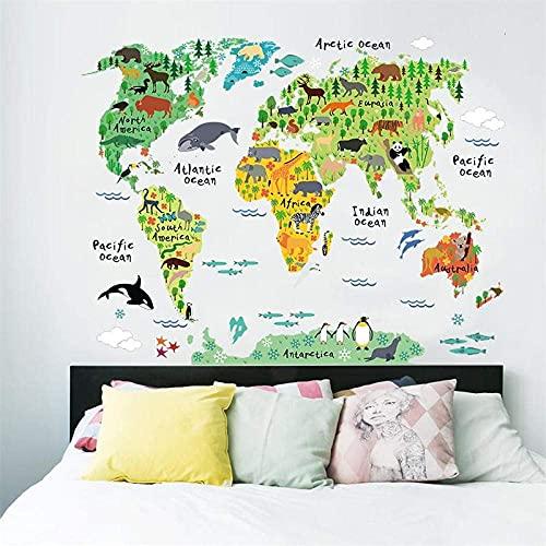 Tierweltkarte Wandaufkleber Wohnzimmer Wohnkulturpvc Aufkleber Wandbild