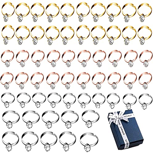 Lohoee 60Pcs Bridal Shower Diamond Rings(Silver+Rose Gold+Gold ) Adjustable Plastic Engagement Rings for Bridal Shower, Wedding Table Decorations,Party Favors Supplies and Arts Gifts with Gift Box